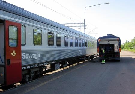 Här tömmer man i Kiruna min vagn upp till Narvik