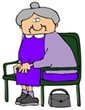 Old Lady With Gray Hair, Wearing A Purple Dress And Sitting In A Chair With Her Purse On The Ground Clipart Illustration Graphic