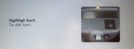 Ogiltigt kort i SJ biljettautomat