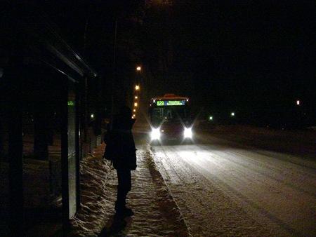 Min buss från Sleipnervägen till Handens pendeltågstation