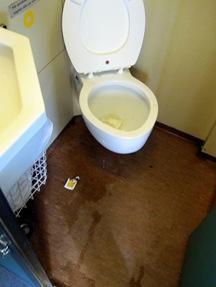 Andra toaletten vad nergrisad och luktade starkt av pissoar