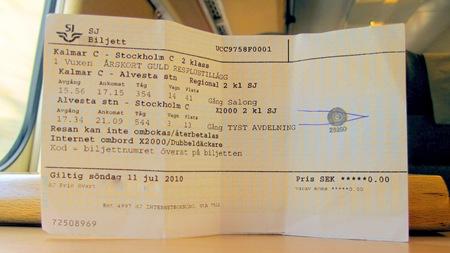 Biljett med stämpel för störningsmat