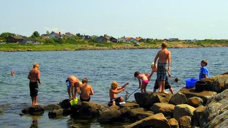 Traditionellt krabbfiske ute vid 5:e vik på Getterön