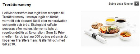 SJ erbjuder 500 priopoäng för det som beställer Stor Frukost eller Trerättermeny