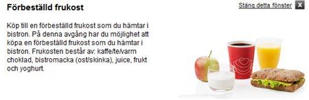 Nytt tillval - Förbeställd frukost - i 2 klass X2000 from 1 september