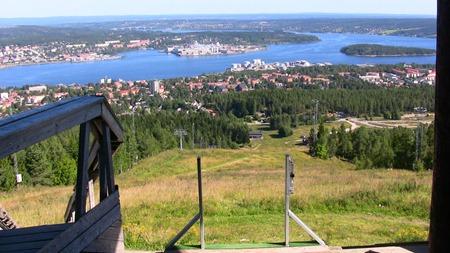 Fin utsikt från starttornet i skidbacken