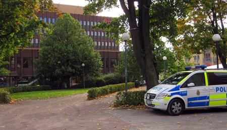 Polisen försöker hålla ordning i Hörsalsparken