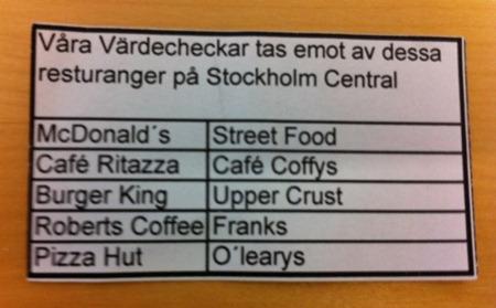 Här kan du använda dina värdecheckar på Stockholm C