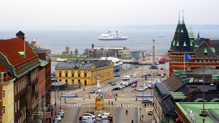 Vy över inloppet till Helsingborg