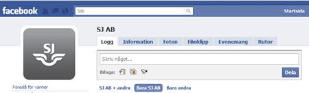 SJ nu på Facebook