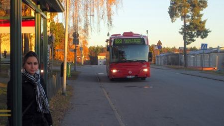 Buss 829 hämtar mig på Sleipnervägen för att ta mig till Handentermninalen