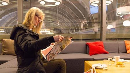 Även kvällspress finns att läsa i SJs lounger
