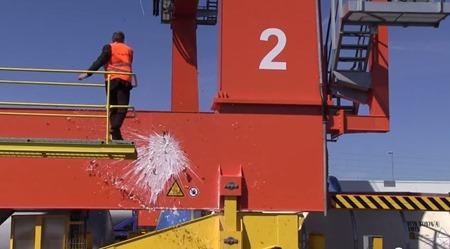 Containerkranen Trud ( Styrka ) döps