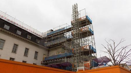Byggnadsställning utanför Stockholm C