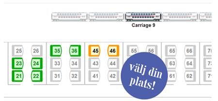 Nu kan du välja plats även på Snälltåget