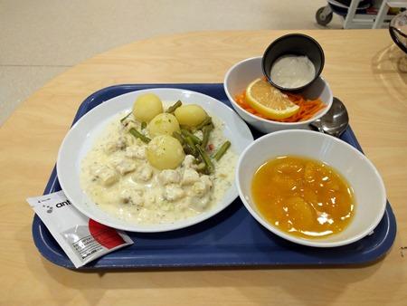 Lunch idag: Fiskgryta, råkostsallad med aioli och aprikoskompott. Valt bort smörgås, frukt och säkerligen några andra tillbehör.